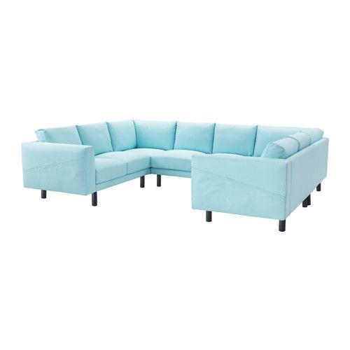 NORSBORG Sectional, 6-seat - Edum light blue, gray - IKEA