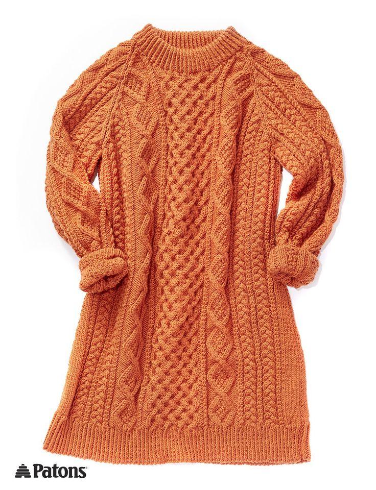 Free knitting pattern for Honeycomb Aran Sweater Dress