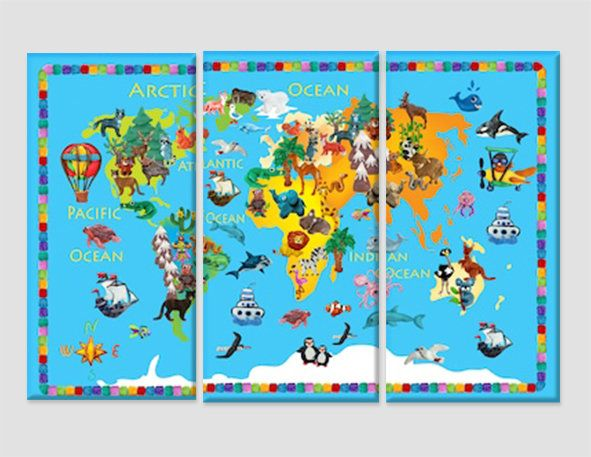 Kids Room Decor Children World Map Canvas Print Kids Map Children Room Wall  Decor Children Map World Map Wall Art Animals 2 3 4 5 Years Gift By ...