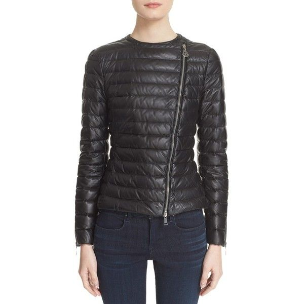 Women's Moncler 'Palomete' Lambskin Leather Down Moto Jacket ($2,145) ❤ liked on Polyvore featuring outerwear, jackets, black, biker style jacket, motorcycle biker jacket, moncler, lambskin leather jackets and lambskin jacket