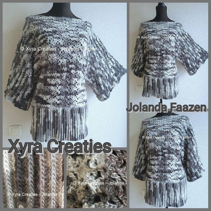 #PATR1105 #trui #shirt #top #sweater #haakpatroon #patroon #haken #gehaakt #crochet #pattern #DIY #sleeves #mouwen #mouw #sleeve  Patroon (NL) is beschikbaar via: Pattern (English-US) is available at: www.xyracreaties.nl  www.ravelry.com/stores/xyra-creaties  www.etsy.com/shop/XyraCreaties