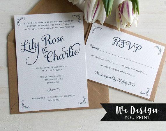 Elegant Wedding Invitation Printable by DigitalDollyDesigns