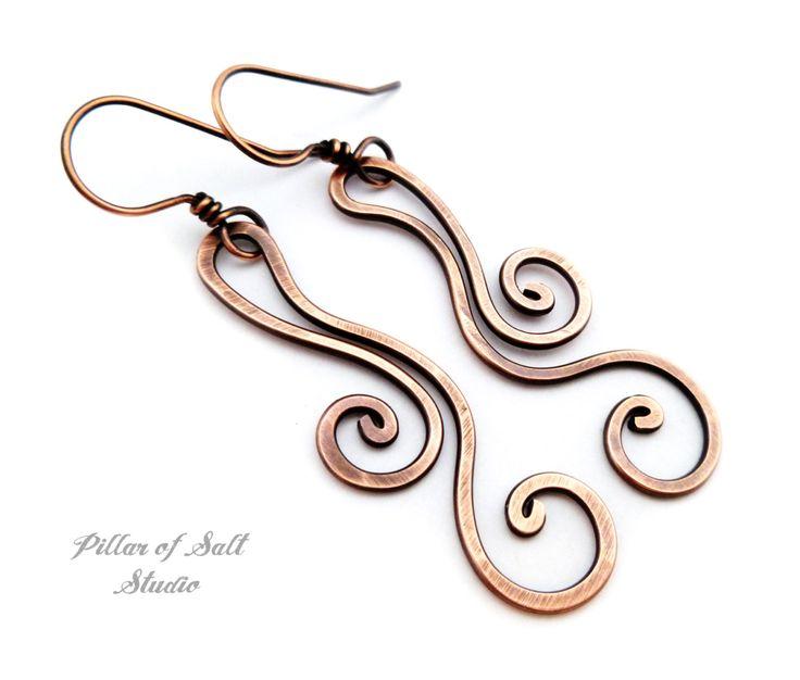 Solid copper earrings / Wire wrapped earrings / wire wrapped jewelry handmade / wire jewelry / earthy rustic copper dangle flourish spiral by PillarOfSaltStudio on Etsy https://www.etsy.com/listing/275017946/solid-copper-earrings-wire-wrapped