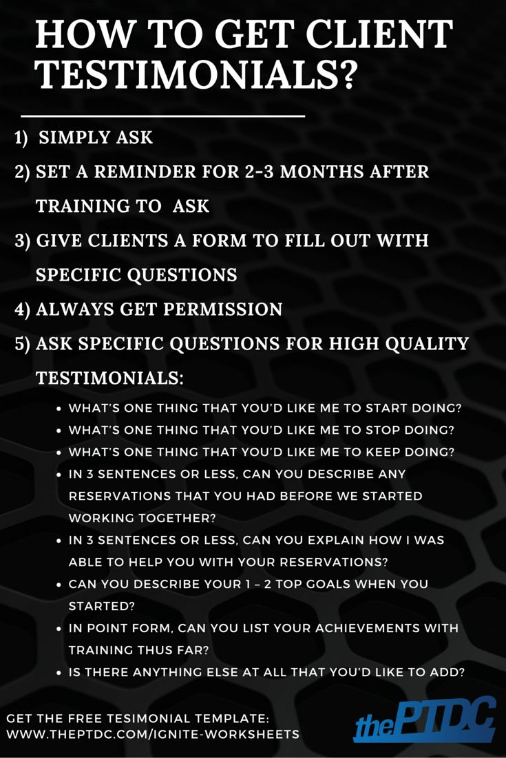 How to get client testimonials for personal trainers. Plus a testimonial template.   The Personal Trainer Development Center