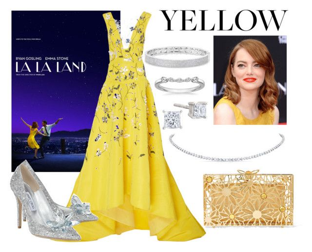 """La La Land #yellowdress"" by real-21c on Polyvore featuring Monique Lhuillier, Jimmy Choo, Charlotte Olympia and Anne Sisteron"