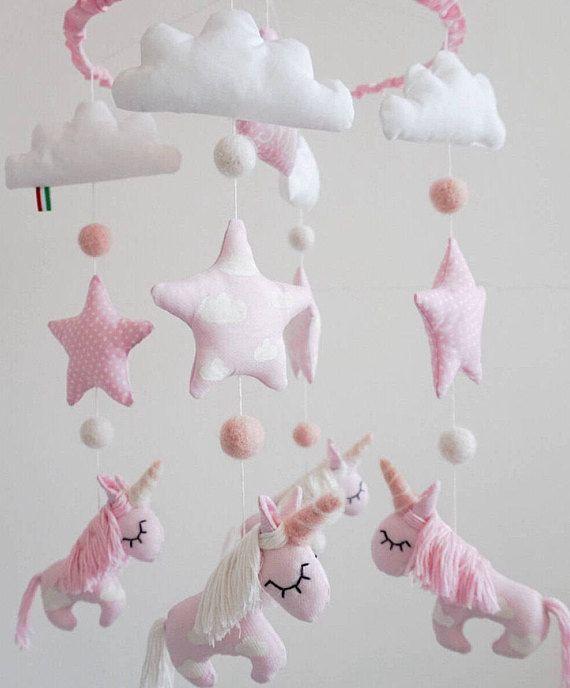 Personalized Unicorn Nursery Pink Crib Handing Mobile Unique