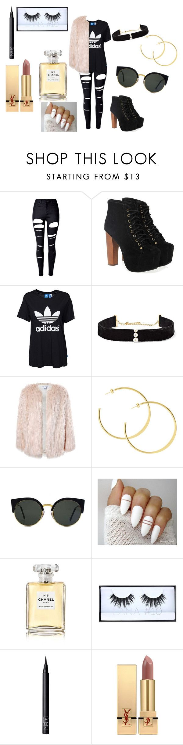 """""""...."""" by kkristinss on Polyvore featuring WithChic, Jeffrey Campbell, adidas Originals, Anissa Kermiche, Sans Souci, RetroSuperFuture, Chanel, Huda Beauty, NARS Cosmetics and Yves Saint Laurent"""