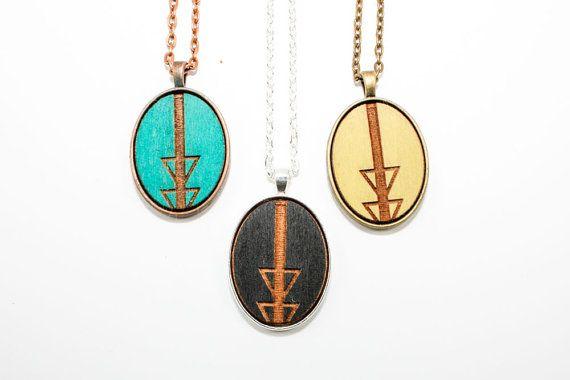 Geometric Arrow Design Pendant  Laser Engraved by OnceAgainSam