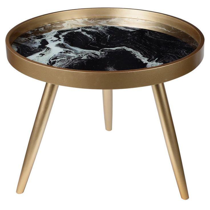 SWIRL BLACK MARBLE TRIPOD SIDE TABLE
