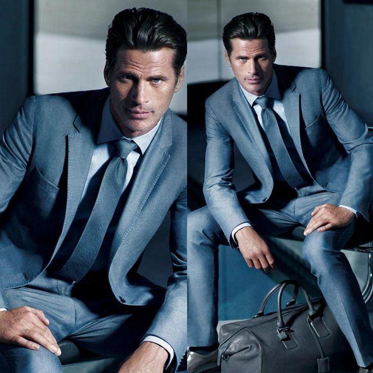 Custom Made Groom Tuxedos Dark Blue Mens Suits For Wedding Trim Fit Tuxedo Jacket Pants Tie 2015