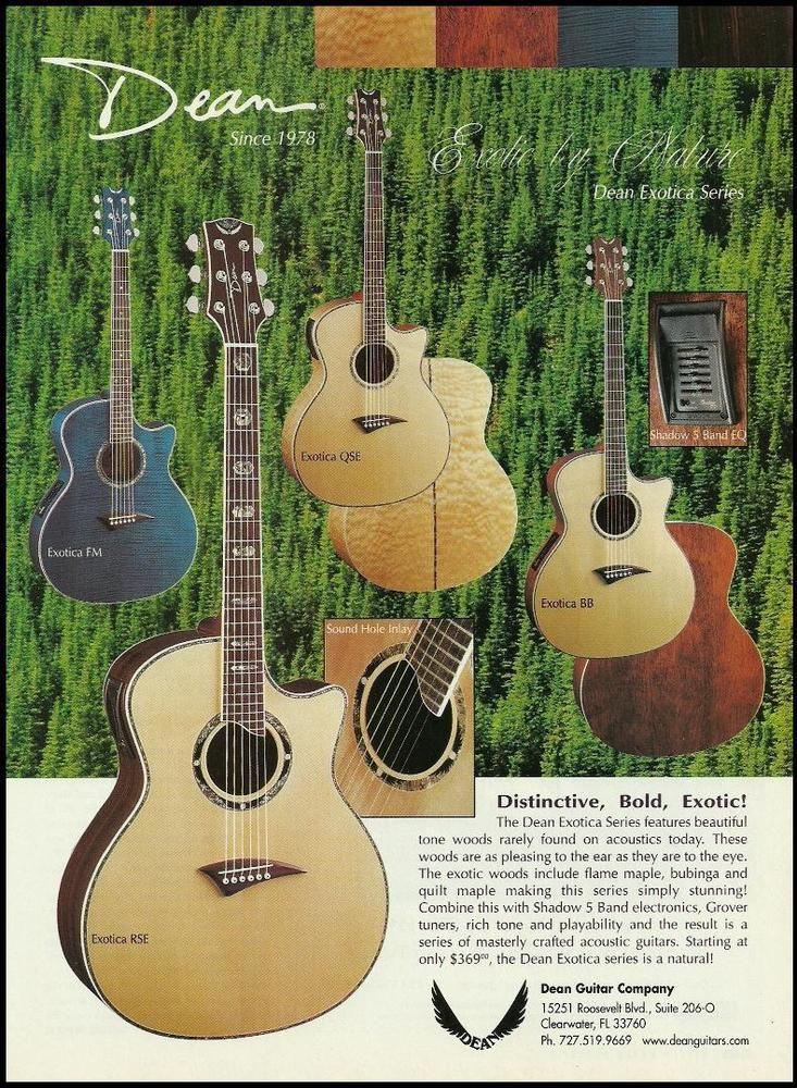 Dean Exotica Acoustic Guitar Series Ad 8 X 11 Advertisement Print Dean Guitar Guitar Cable Dean Guitars