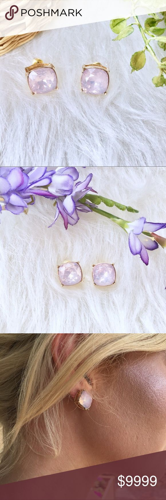 """Pink Opal Earrings Studs Beautiful opal earring studs. Material: 1/2"""" pink opal stone, 14K gold plated COMING SOON. PRICE WILL DROP WHEN THEY COME IN!!! Jewelry Earrings"""