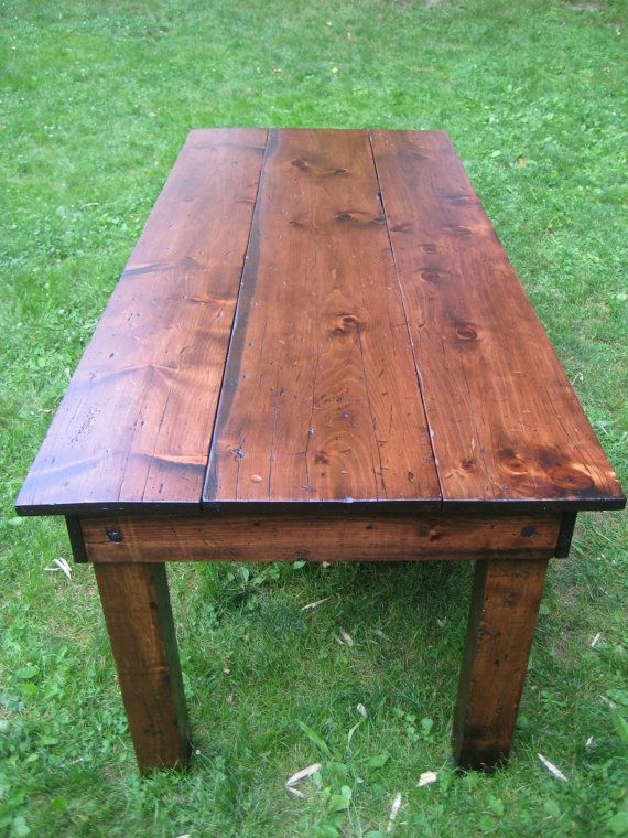 Best 25 harvest tables ideas on pinterest kitchen table for Post trestle farm table plans