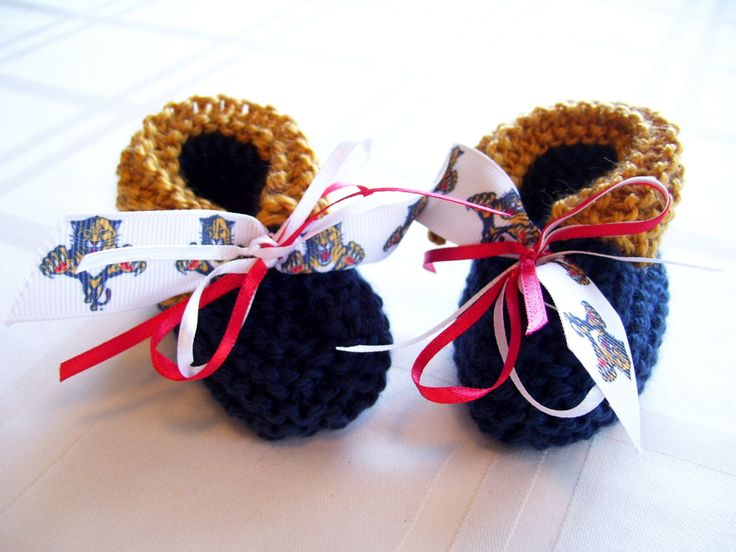 Look at these booties for the baby! Florida PANTHERS Hockey Fans!! Handmade Baby Booties - FREE SHIPPING! by ZZsTeamTime on Etsy