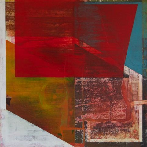 Teresa Booth Brown: Paintings Coccineous, 2014, oil and collage on wood, 24 x 24 inches.