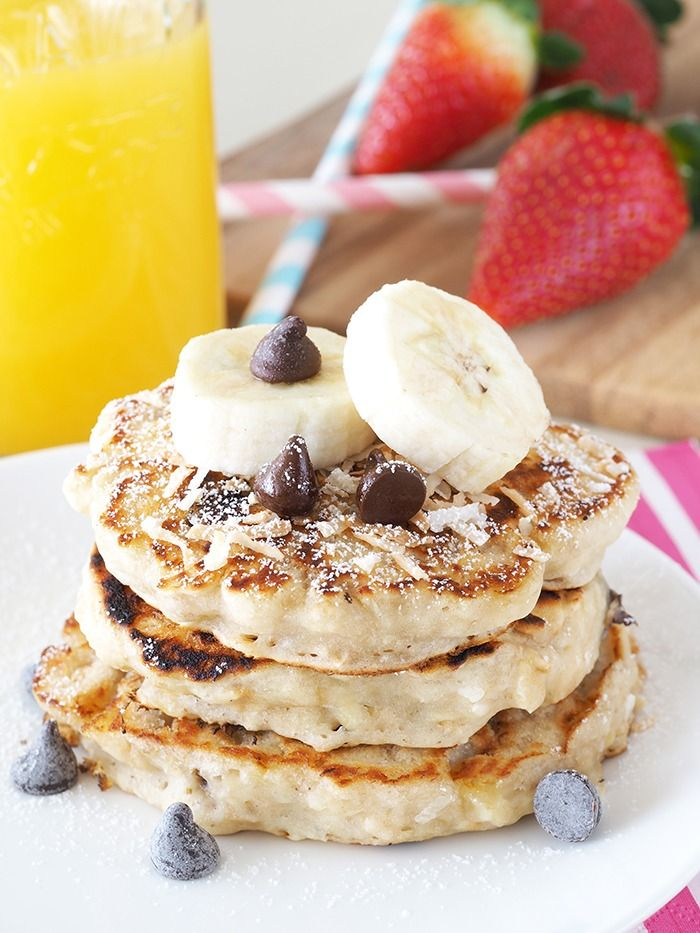 Banana Chocolate Chip Coconut Pancakes for One
