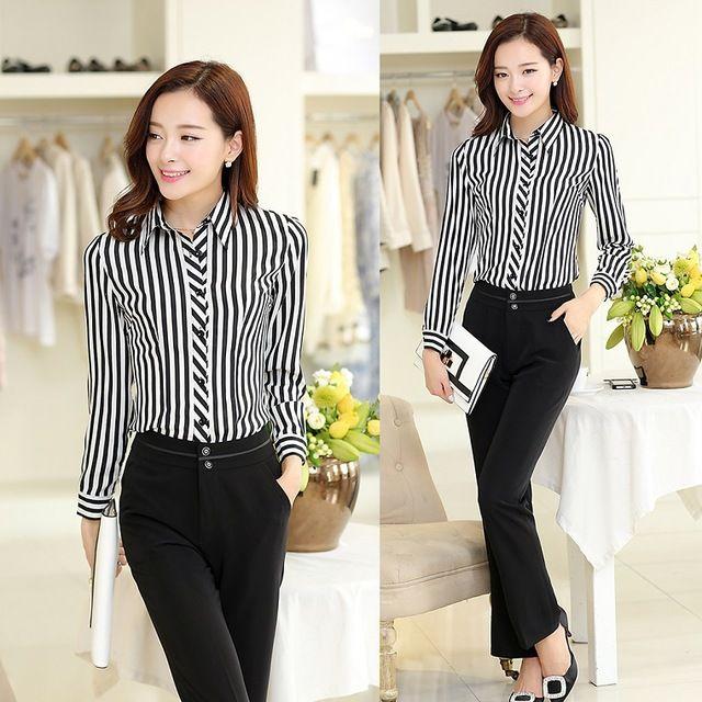 Formal trajes de pantalones de mujer trajes con pantalón y blusa establece de moda 2015 uniformes para mujer de la oficina diseños a rayas de manga larga