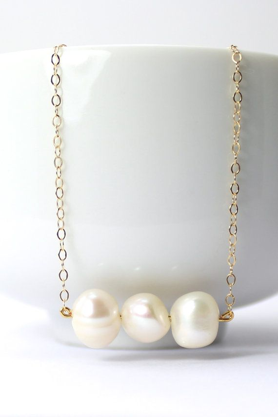 Triple Freshwater Pearl / Gold Necklace - Pearl Bridesmaid Gift - Bridesmaid…