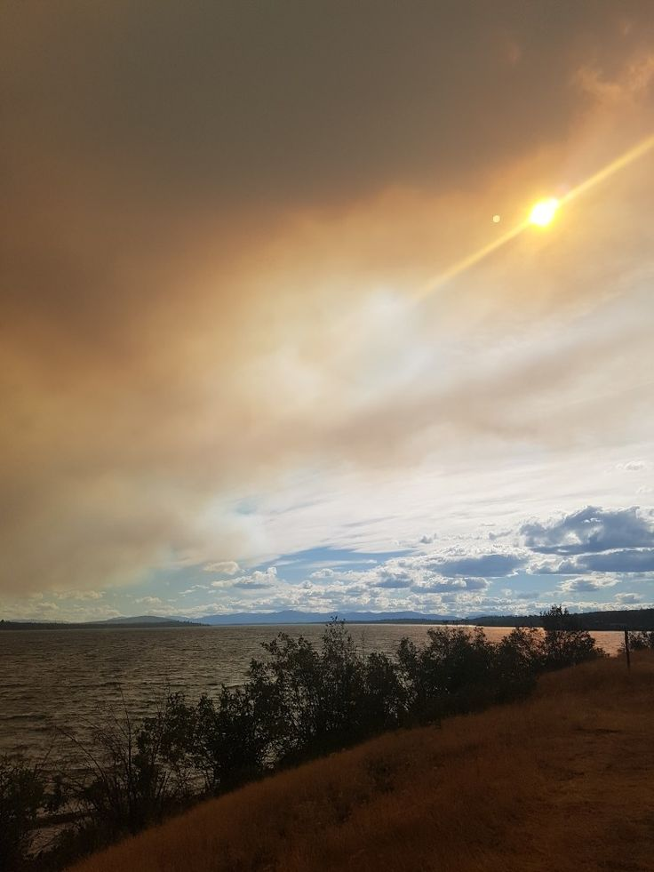 Smoke over Green Lake B.C.from Elephant hill wildfire,July 2017, B.C.wildfires 2017