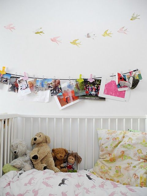 I've had this idea for a while now, hanging photos on ribbon or string using clothes pegs