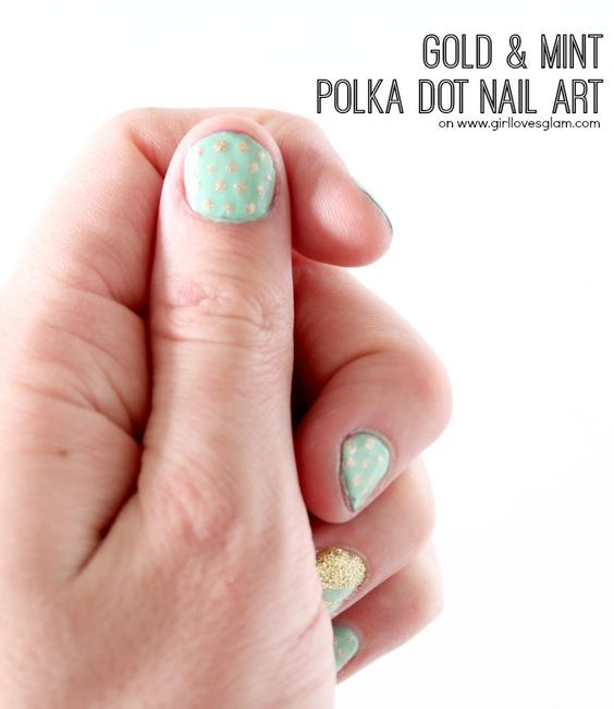 Spring Gold and Mint Polka Dot Nail Art on www.girllovesglam.com #beauty #nails: