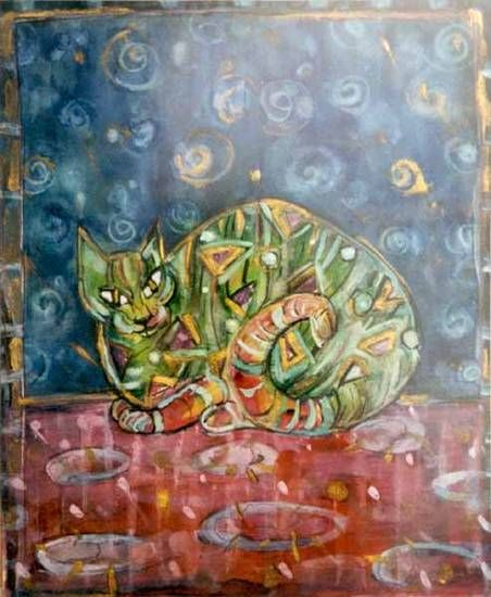 """""""Cat"""" by Justyna Eberle - ecolina on paper"""