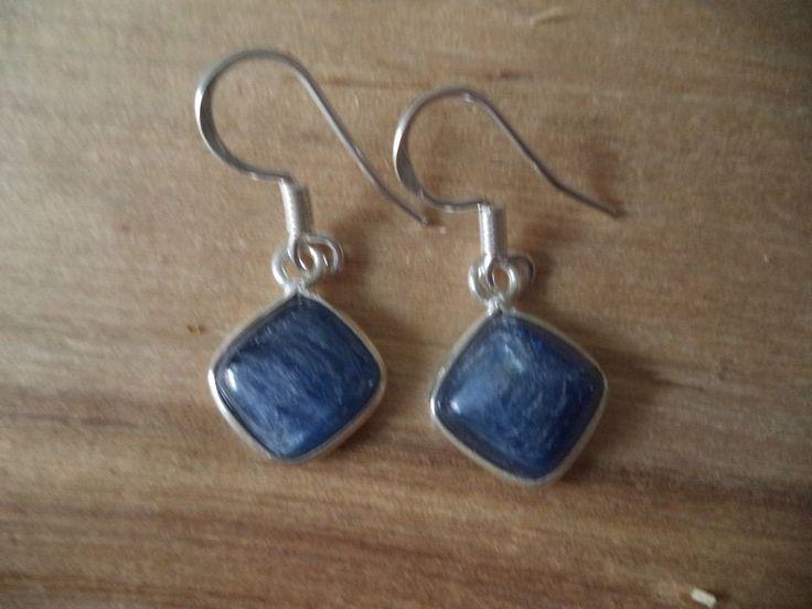 Ohrringe Silber 925 Sterlingsilber Kyanit rhombus Hänger Blau H16