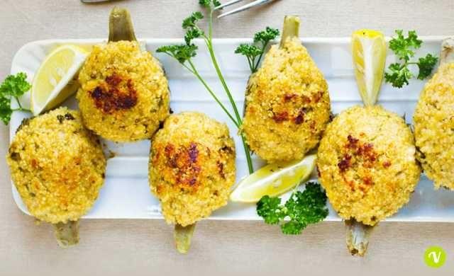 Carciofi-ripieni-quinoa-miglio