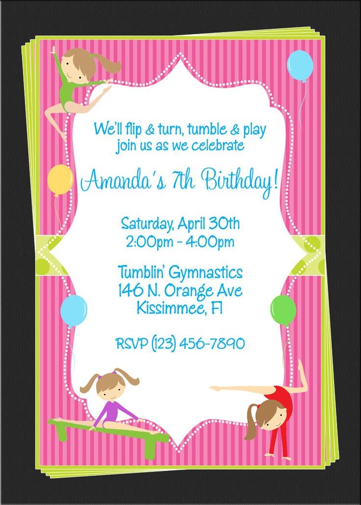 88 best Gymnastics Birthday Party images on Pinterest Birthday - best of invitation wording for gymnastics party