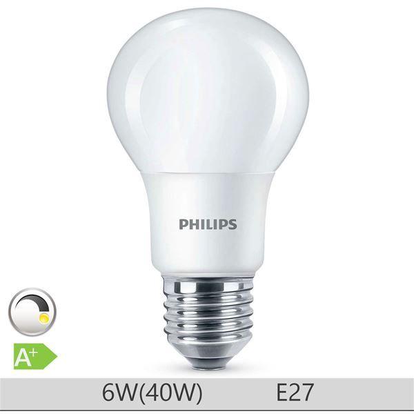 Bec LED Philips 6W E27 forma clasica A60, lumina calda http://www.etbm.ro/tag/148/becuri-led-e27