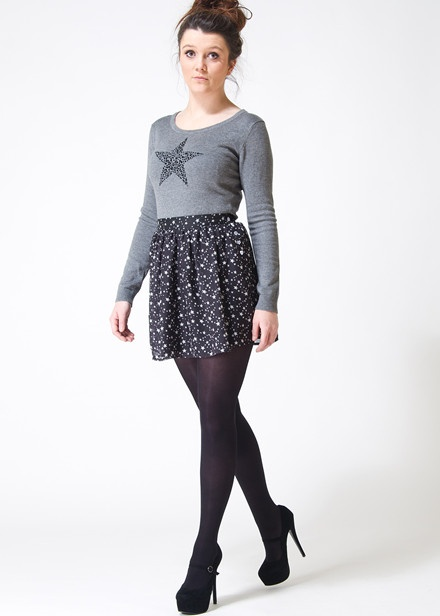 Sugar Hill Boutique Starburst Skater Style Skirt and Starry Star Jumper in Grey