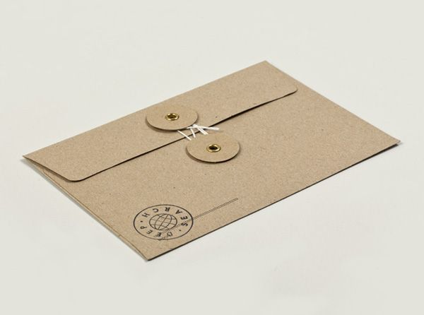 Deep Search unbleached uncoated envelope with stamp detail designed by Christian Bielke