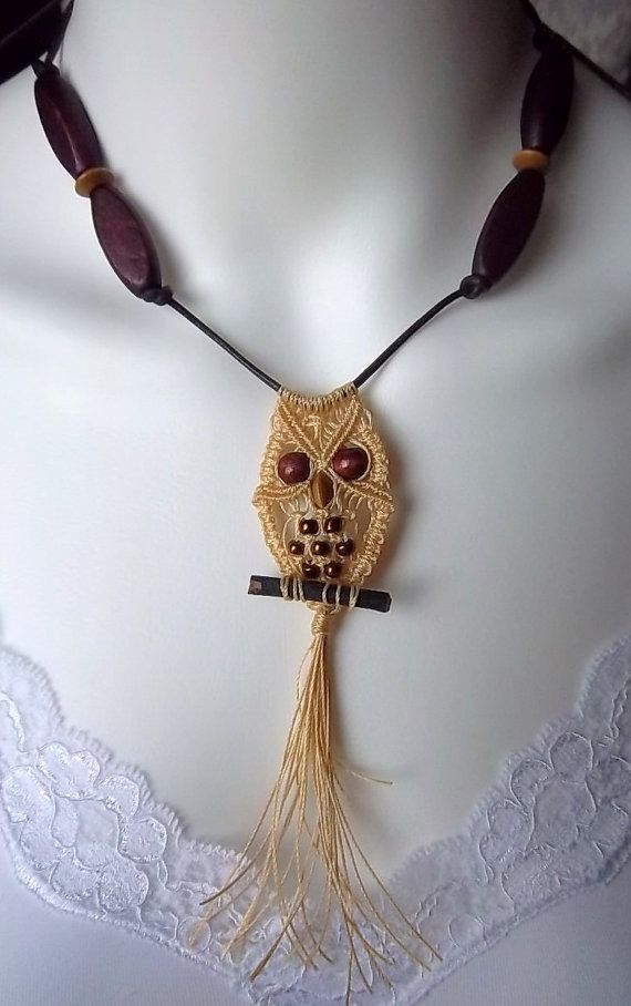 """micro macrame owl """"Macrame Owl Necklace in Wheat and Copper"""""""