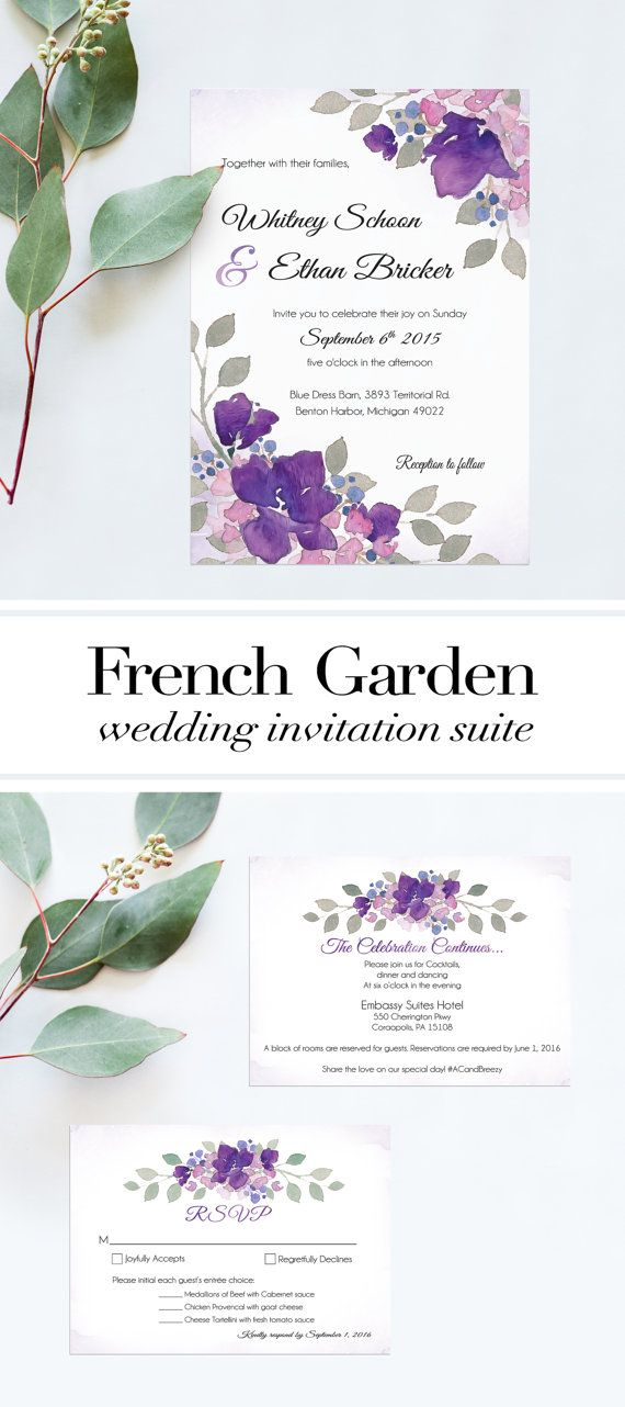 Garden Wedding Invitations Printable. Purple Wedding Invitations, RSVP, Garden Wedding Program Design. French Style Wedding Invitation 5x7