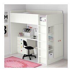 IKEA - STUVA / FÖLJA, Ca al+4cj/2p, , Esta cama alta permite montar una solución completa con escritorio, armario y estante.Puedes montar el escritorio en paralelo o perpendicular a la pared, o ponerle dos patas ADILS para que sea independiente.Si decides montar el escritorio en sentido perpendicular a la cama, podrás acceder al armario desde ambos lados.Esta escalera es más segura gracias a las acanaladuras antideslizantes.Gracias a la abertura del panel del fondo, es fácil tener a...