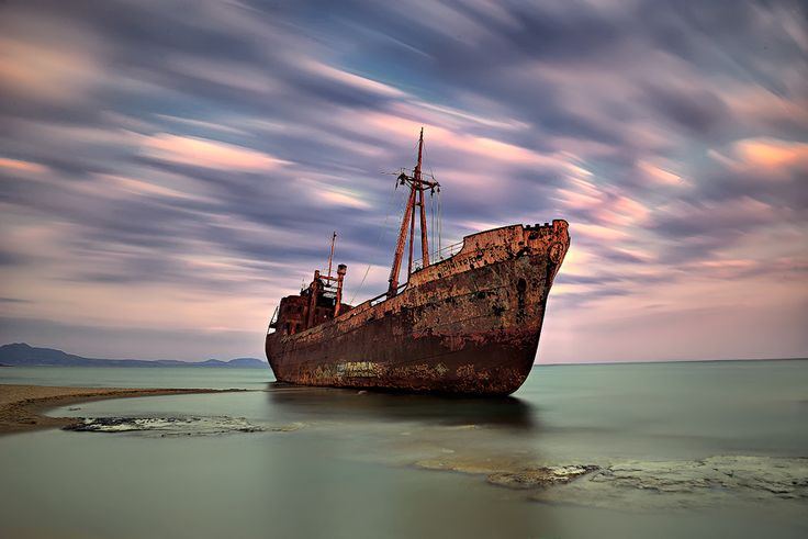 The ghost boat at Githeio, Greece by sui400.deviantart.com