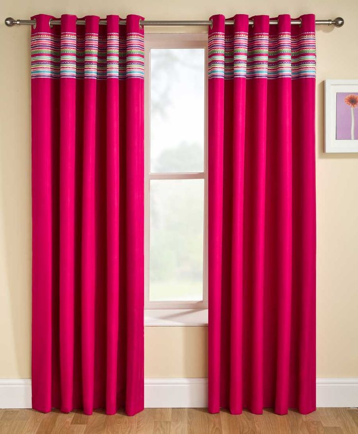 Cute Pink Color Scheme Bedroom Curtains With Double Side Space Finials  Ornament And Small Style White Wood Window Frame Perfect Ornament  Decoration Of ...