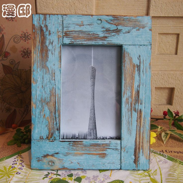 Home decoration fashion vintage photo frame handmade retro finishing rustic solid wood photo frame props $11.46
