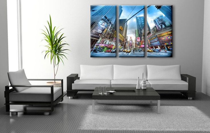 3 TELE MODERNE TIMES SQUARE NEW YORK PER ARREDAMENTO. 3 PAINTINGS MODERN TIMES SQUARE