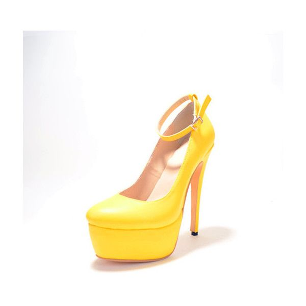 Cool Show Yellow Suede Thick Platform High Heel Shoes ($71) ❤ liked on Polyvore featuring shoes, pumps, high platform shoes, yellow high heel shoes, yellow high heel pumps, suede pumps and high heel pumps