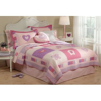 My World My World Spring Hearts Quilt with Pillow Sham Like this one for girls room too.