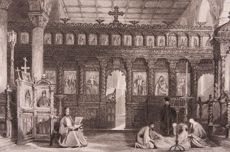 """Bergama'da St. Theodore Pergamus Ortodoks Kilisesi Gravür-Thomas Allom tarafından tarafından çizilmiş, İngiliz Konsolosluğu'nun din görevlisi olarak uzun yıllar İstanbul'da kalmış olan R. Walsh'ın 1839 yılında Londra'da basılan """"Constantinople ..."""" adlı meşhur seyahatnamesinde yer almış orjinal çelikbaskı gravür. Bu seyahatname Osmanlı gündelik yaşamı ve İstanbul güzelliklerini anlatmakta olup 19. yüzyıl Avrupası'nın en çok ilgi çeken kitaplarından biri olmuştur."""
