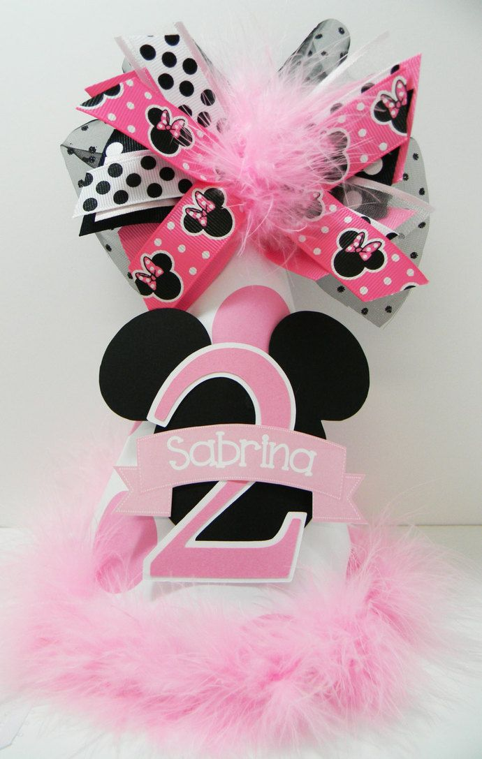 Personalized Minnie Mouse Polka Dot Birthday Party Hat by DoodlesDotsnDimples, $14.99 USD