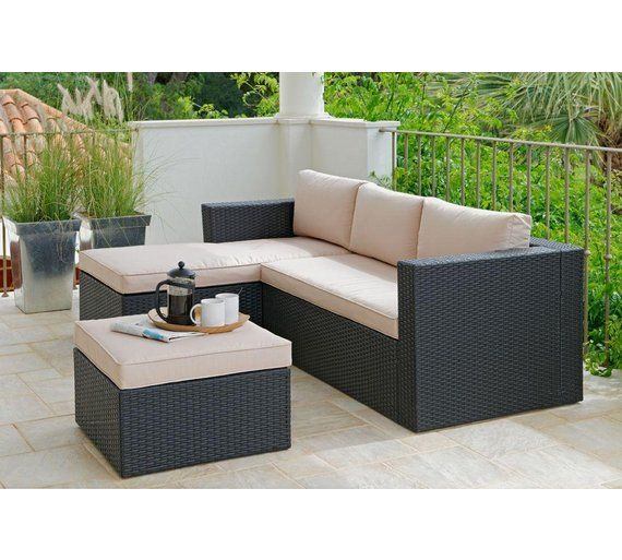 Unique Buy Rattan Effect Seater Mini Corner Sofa Black at Argos co uk