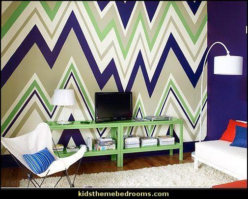 Zag Wall Decals  Chevron Bedroom Decorating Ideas Zig Wallpaper