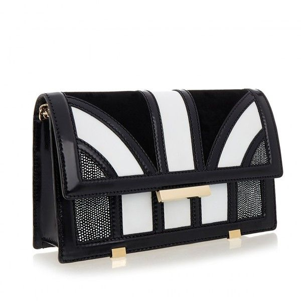 Aperlai Black and White Leather Bag ❤ liked on Polyvore featuring bags, handbags, shoulder bags, real leather purses, leather shoulder bag, real leather handbags, genuine leather handbags and genuine leather shoulder bag