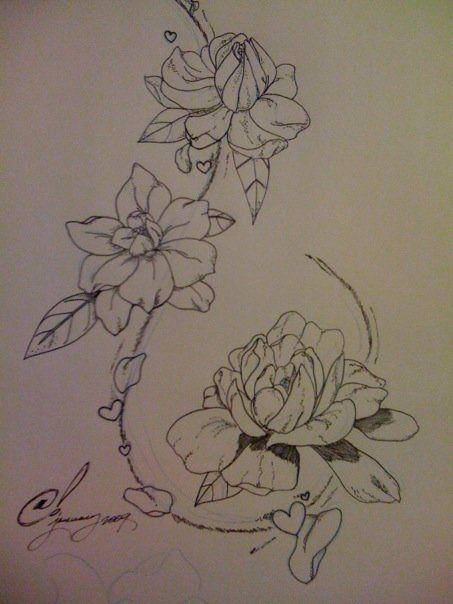 Gardenias Back Tat by ashtonish.deviantart.com on @deviantART