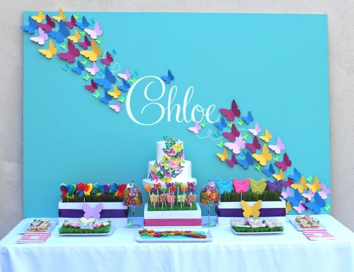 Butterfly Party by Bloomdesigns.  Beautiful backdrop.  Grass filler for lollipop boxes.
