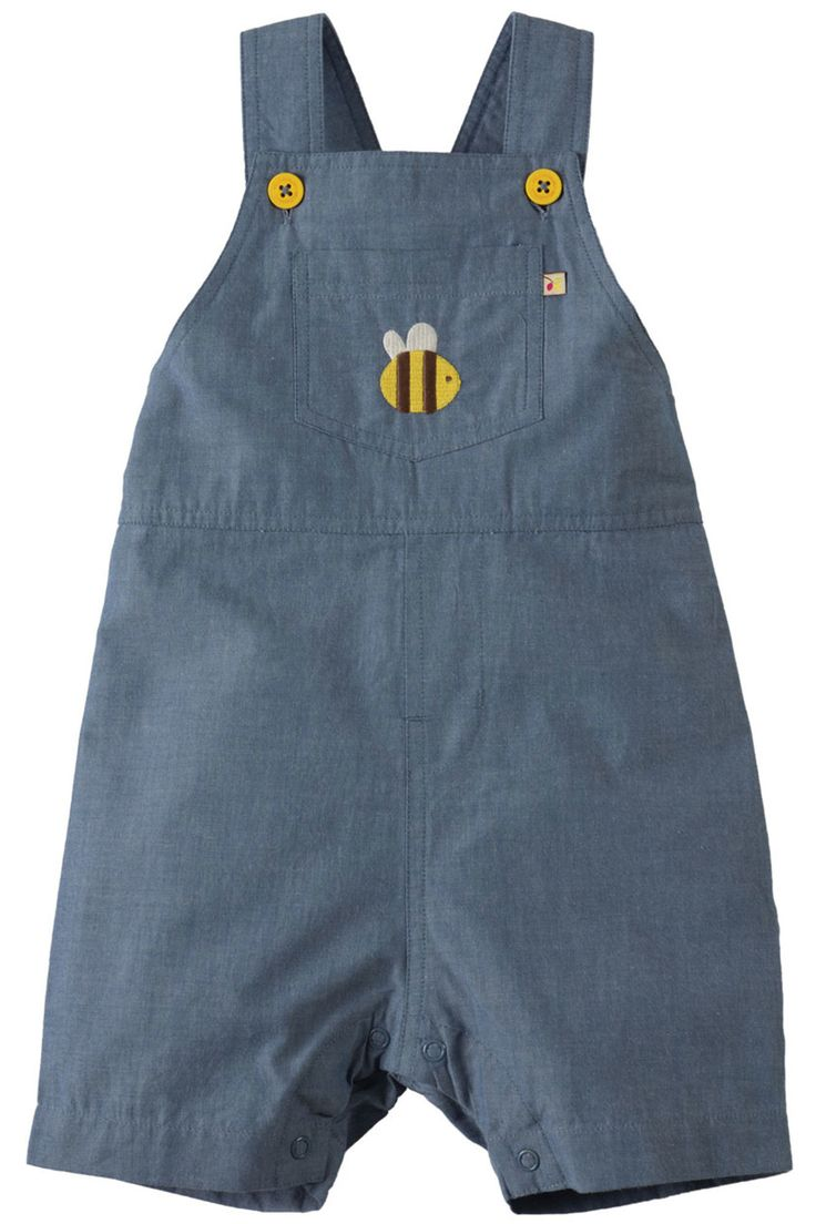 Your little one will adore these short Durgan Dungarees, with a fun bumble bee embroidery on the front pocket, perfect for those long and warm summer days! Made from soft and light weight organic cotton chambray with a full lining on the straps and at the top. These dungarees have a mock fly, adjustable yellow button up shoulder straps, an elasticated back for a proper fit and poppers along the crotch (for ages up to 2-3 years) for easier dressing and changing.