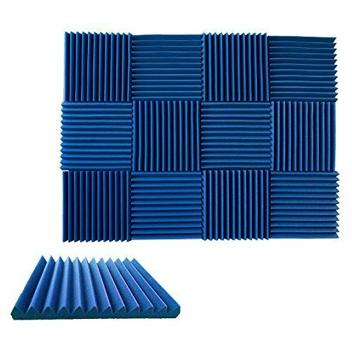 """(12 Pk) 1""""x12""""x12"""" BLUE / BLUE Acoustic Panels Soundproofing Foam Acoustic Tiles Studio Foam Sound Wedges (12T)  Foam panels HIGHEST point reaches 1 inch height. Its LOWEST point reaches 3/4 inch in height. / Overall Noise Reduction Coefficient (NRC): 0.42  Smaller panels offer more options for placement and design / Pack of 6. Covers 6 sq. ft. (Covers 1 sq. ft. per sheet)  Good for Recording Studios, Vocal Booths, Home Theathers  Reduces standing waves and flutter echoes in small to m..."""
